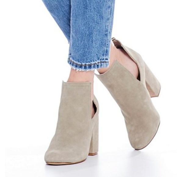 Naomi Suede Cutout Block Heel Booties